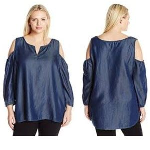 NYDJ Agnes Cold Shoulder Denim Chambray Top Sz 3X